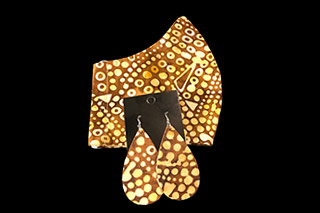 Abstract Brown and Yellow Dot Face Mask and Earring Set
