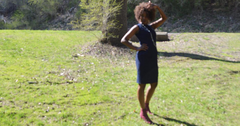 Model in Denim Blue Dress Front View in Field_1200
